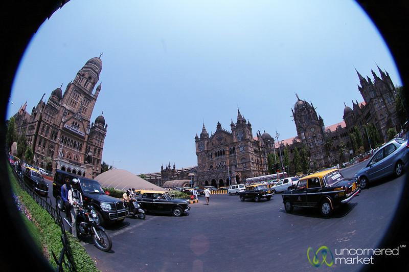 Fisheye View of Street Scene - Mumbai, India