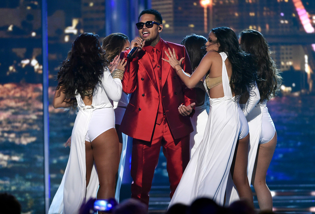 . Chris Brown performs at the Billboard Music Awards at the MGM Grand Garden Arena on Sunday, May 17, 2015, in Las Vegas. (Photo by Chris Pizzello/Invision/AP)
