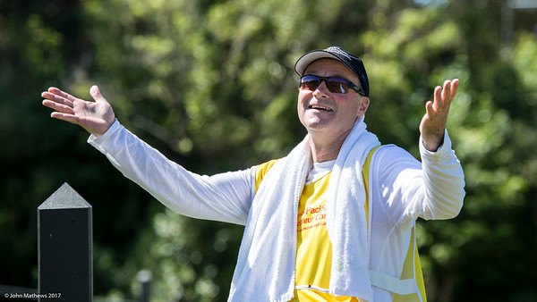 Barry Hayman caddying (and enjoying the fine weather) for Yashas Chandra from Indonesia on Day 3 of the Asia-Pacific Amateur Championship tournament 2017 held at Royal Wellington Golf Club, in Heretaunga, Upper Hutt, New Zealand from 26 - 29 October 2017. Copyright John Mathews 2017.   www.megasportmedia.co.nz