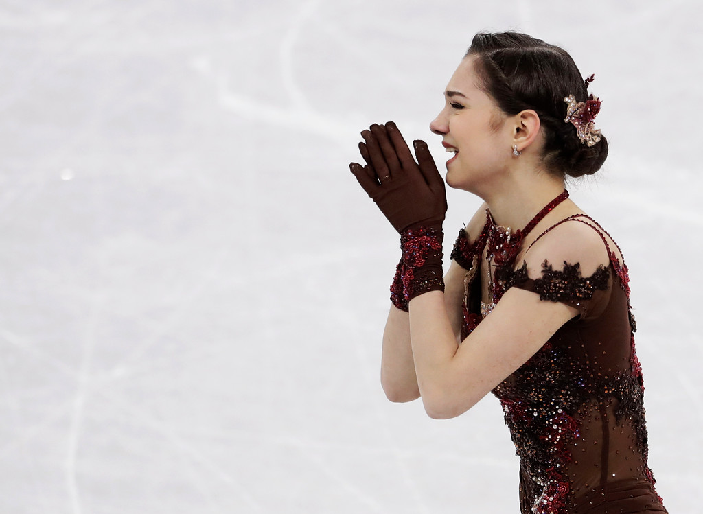 . Evgenia Medvedeva of the Olympic Athletes of Russia reacts after her performance during the women\'s free figure skating final in the Gangneung Ice Arena at the 2018 Winter Olympics in Gangneung, South Korea, Friday, Feb. 23, 2018. (AP Photo/Petr David Josek)