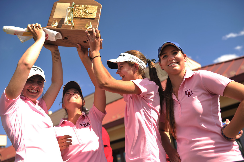 . ENGLEWOOD, CO. - MAY 21 : From left, Kelly Kruse, Kylee Sullivan, Samantha Weber and Katherine Kemp of Chyenne Mountain High School celebrate winning of State 4A Girl\'s Golf team Championship at Broken Tree Golf Course. Englewood, Colorado. May 21, 2013. (Photo By Hyoung Chang/The Denver Post)