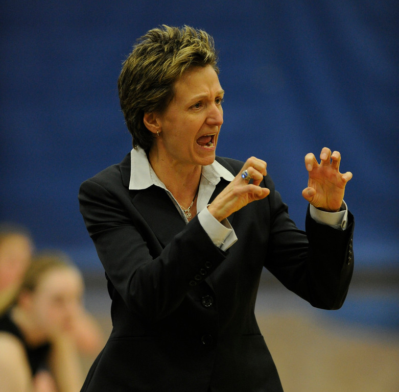 . PARKER, CO. - FEBRUARY 15: Highlands Ranch coach Caryn Jarocki urged one of her players to use both hands on defense in the first half Friday night. The Legend High School girls\'s basketball team hosted Highlands Ranch Friday night, February 15, 2013. (Photo By Karl Gehring/The Denver Post)