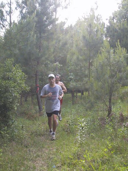 Heading downhill on CdV through the F2 pine grove.