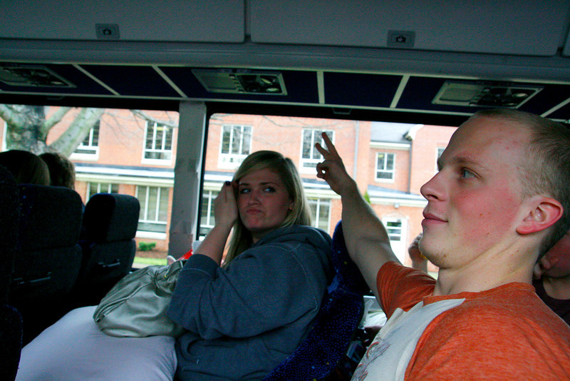 Tyler Willoughby and Cassidy Henry Ham it up as they get ready to leave on Choir tour with the rest of the GWU Choir.