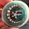 1.40ctw Victorian Rose Gold Crescent and Star Ray Brooch/Pendant 12