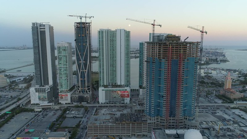 Skyscrapers of Miami aerial drone footage
