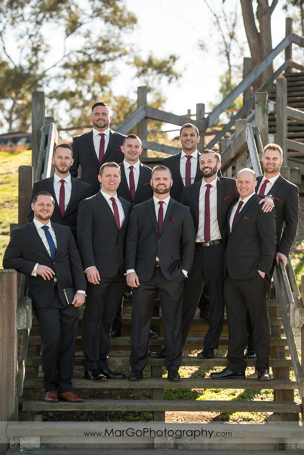 portrait of groom and groomsmen at San Diego Mission Bay Park