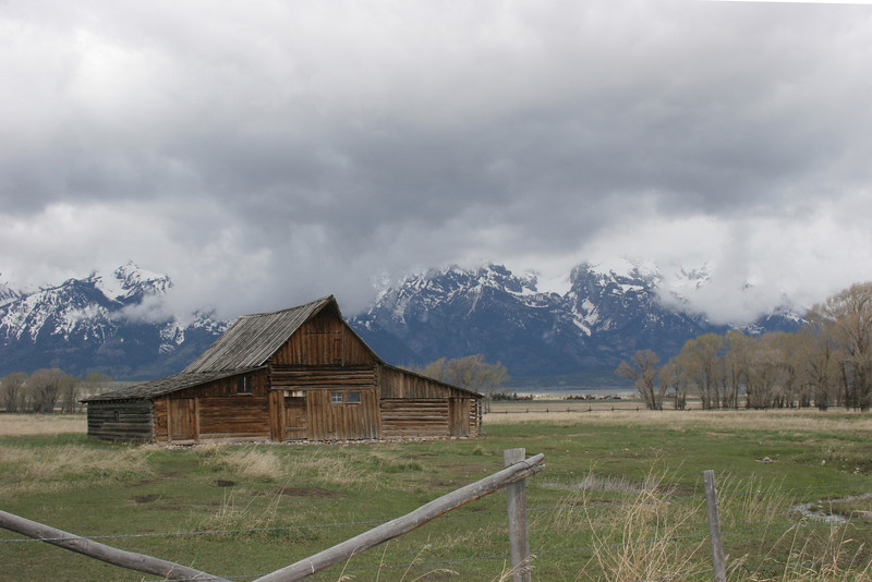 Mormon Row with Grand Tetons in background