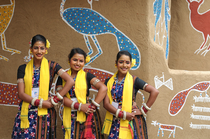 Dancers from Dayal Sangeet Academy, Rasulgarh, Bhubaneshwar, Orissa. This girls only group of artist performed the Odissi Classical dance and Sambalpuri Folk dance at the Surajkund Crafts Mela 2009, Haryana, North India.