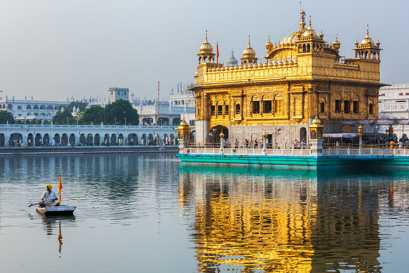 Sikhs in Golden Temple (Harmandir Sahib), Amritsar, Punjab, India, Sikh, Sikhism, religion, architectural, architecture, building, edifice, place of worship, religion, religious building, sunrise, shrine, sacred