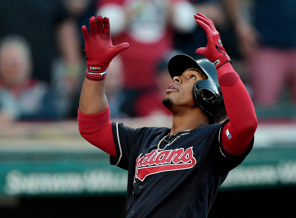. Cleveland Indians\' Francisco Lindor looks up after hitting a solo home run off Oakland Athletics starting pitcher Sean Manaea in the fourth inning of a baseball game, Wednesday, May 31, 2017, in Cleveland. (AP Photo/Tony Dejak)