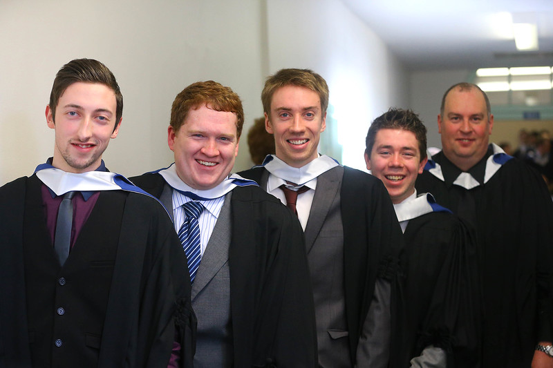 Waterford Institute Of Technology Conferring. Pictured at WIT Waterford Institute Of Technology Conferring are Adam Conroy, Wexford, Sam Cosgrove, Waterford, Mark Culbert, Waterford, Gavin Downey, Waterford and Kevin Fitzpatrick, Kilkenny who graduated Bachelor of Science in Multimedia Development. Picture: Patrick Browne