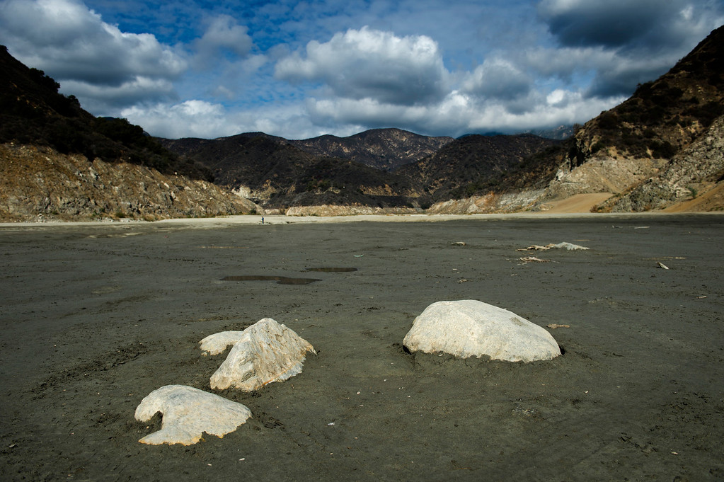 . The lack of rainfall exposes the rocks and mud in the river bottom of San Gabriel Reservoir in the Angeles National Forest on Friday, Feb. 7, 2014. (Photo by Watchara Phomicinda/ San Gabriel Valley Tribune)