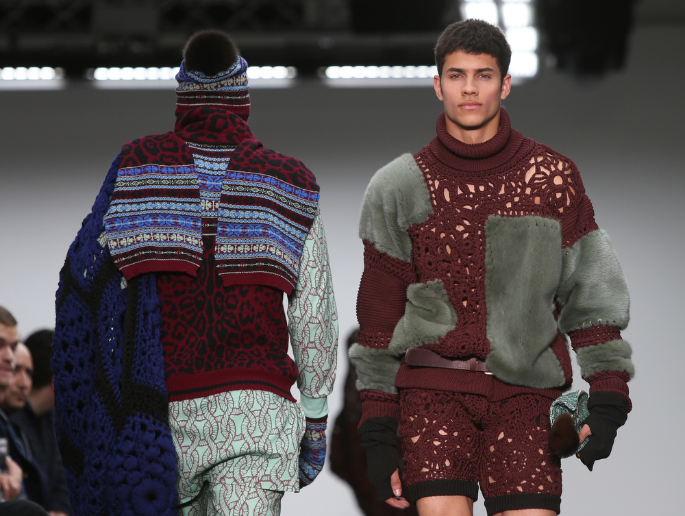 . Models wears designs created created by Sibling during the London Collections for Men Autumn/Winter 2014 fashion show, at Victoria House in central London, Wednesday, Jan. 8, 2014. (Photo by Joel Ryan/Invision/AP)
