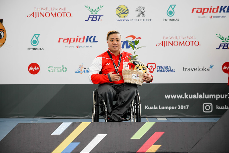PARA SWIMMING - THERESA RUI SI GOH in the victory ceremony (bronze medal) representing Singapore in Women's 100 LC Meter Freestyle S6  Finals at Aquatics Centre, KL on September 18th, 2017 (Photo by Sanketa Anand)