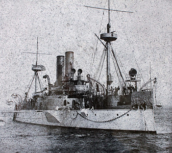 This image of the USS Maine is affixed to the memorial stone the sits in Gordon Park along Sherman Street.