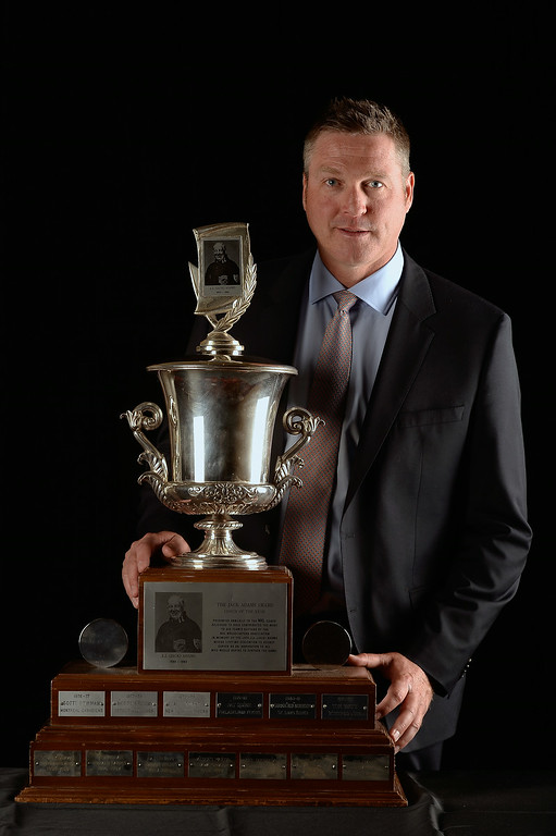 . Patrick Roy of the Coloradao Avalanche poses after winning the Jack Adams Award during the 2014 NHL Awards at the Encore Theater at Wynn Las Vegas on June 24, 2014 in Las Vegas, Nevada.  (Photo by Harry How/Getty Images)