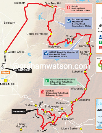 Tour Down Under Stage 2: Prospect > Stirling, 150kms