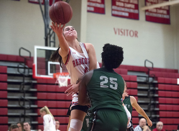 Berlin girls basketball defeated Maloney on Monday night at home 44-20. Lyzi Litwinko (4). | Wesley Bunnell | Staff