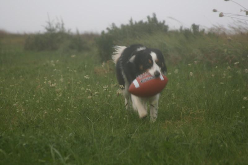 Jayce & football during Hurricane Earl (Sep 2010)