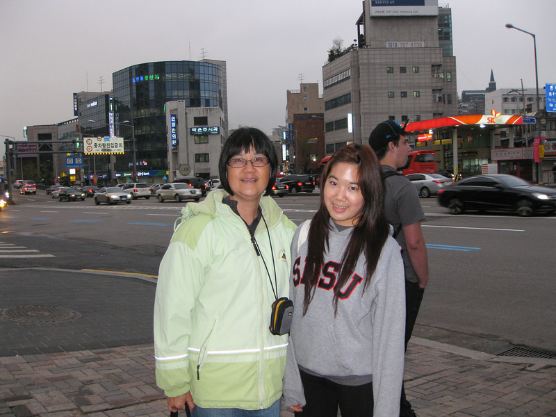 Andrea and her mom upon arrival in Seoul