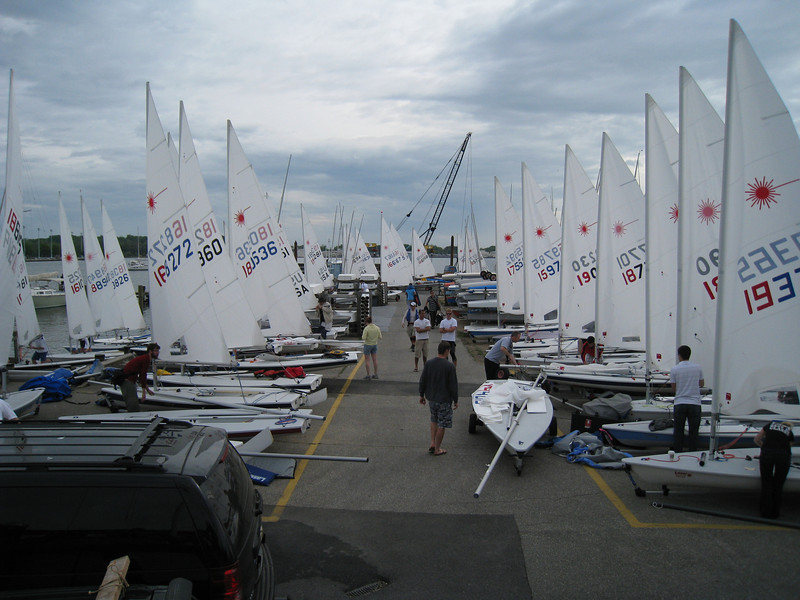 Lasers rigged and ready to hit the water Saturday morning.