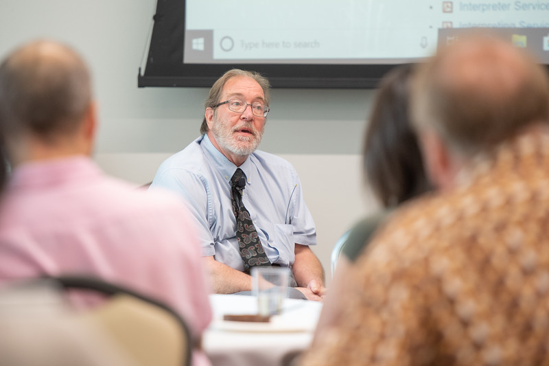 Associate Director of TAMU-CC Disability Services, Ralph McFarland, provides additional insight following a Q&A. Tuesday September 24, 2019 during the Coffee and Conversations with Disabilities Services Workshop in the University Center Jetty Room.