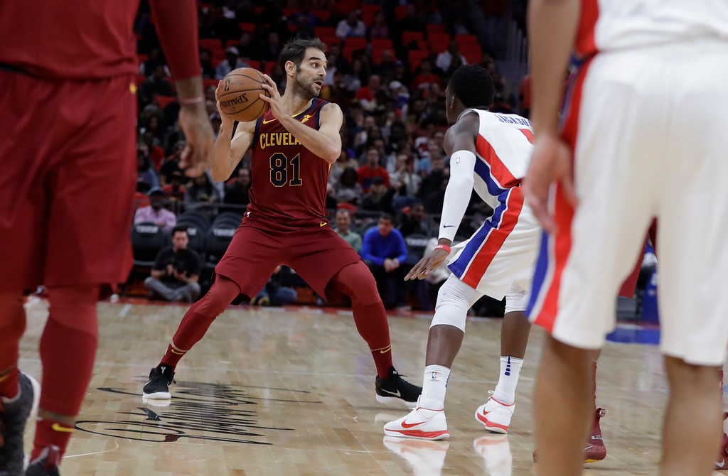 . Cleveland Cavaliers guard Jose Calderon (81) looks to pass during the second half of an NBA basketball game against the Detroit Pistons, Monday, Nov. 20, 2017, in Detroit. (AP Photo/Carlos Osorio)