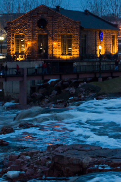 Quite a few people went to the Falls Park. Definitely more water than usual.