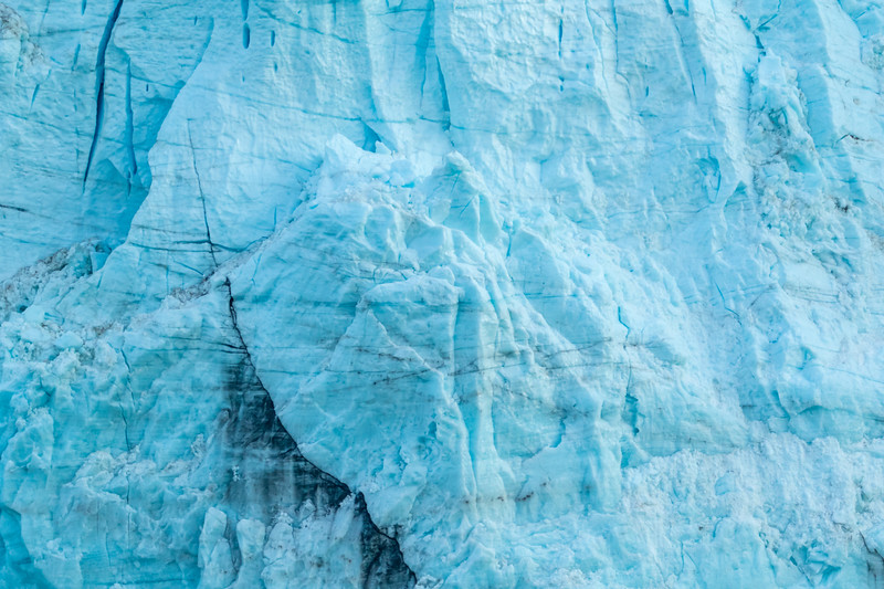 View of tidal glaciers in Alaska, frozen and blue