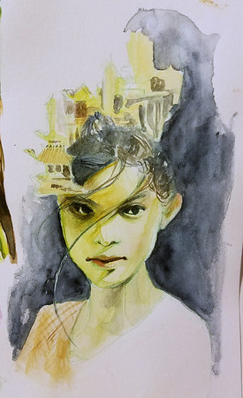 portrait of 'nuwa', watercolor