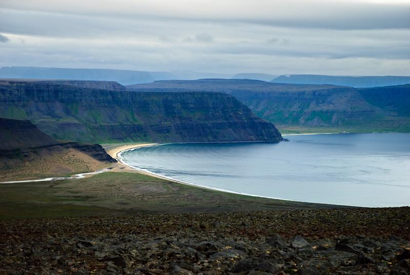 Aðalvík. Stakkadalsós, Mannfjall, Miðvík, Hvarfanúpur og Lækjarfjall