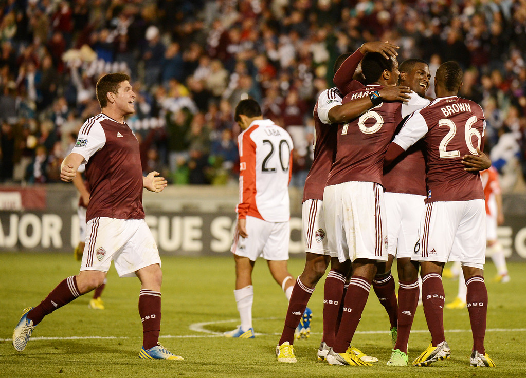. COMMERCE CITY, CO. - MAY 04 : Colorado Rapids players celebrate winning goal of Edson Buddle #9 in the 2nd half of the game against Toronto FC at Dick\'s Sporting Goods Park in Commerce City, Colorado. May 4, 2013. Colorado won 1-0. (Photo By Hyoung Chang/The Denver Post)
