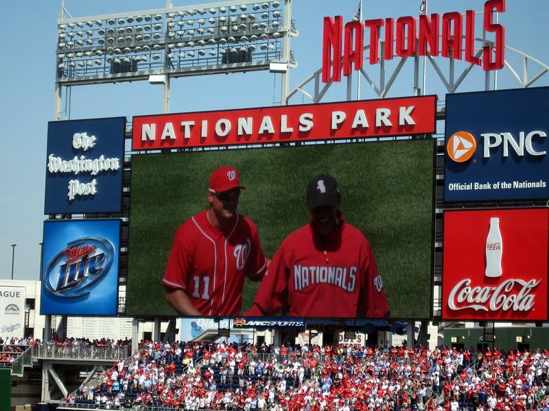 President Barack Obama leaves the field with Nationals third baseman Ryan Zimmerman