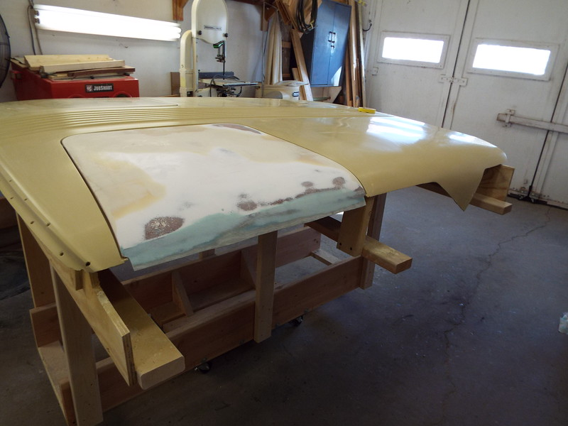 Starting to fair in the port gull wing door after adding glass to make the door longer.