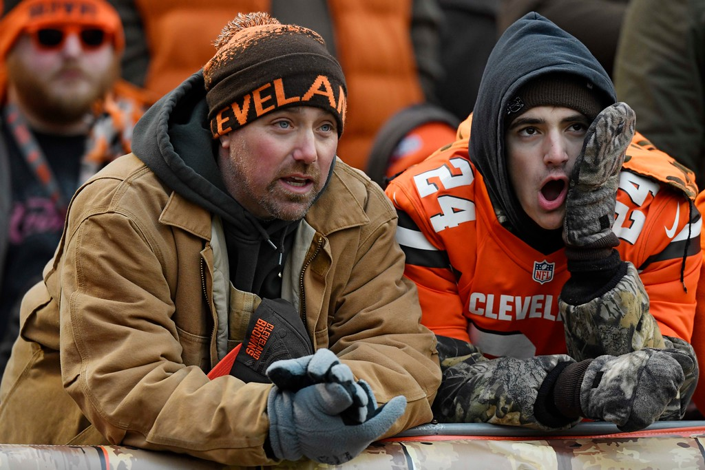 . Cleveland Browns fans watch the second half of an NFL football game against the Green Bay Packers, Sunday, Dec. 10, 2017, in Cleveland. (AP Photo/David Richard)