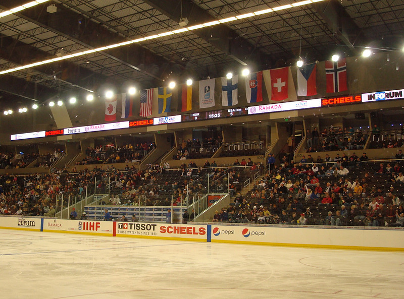 Flags, crowd, ice