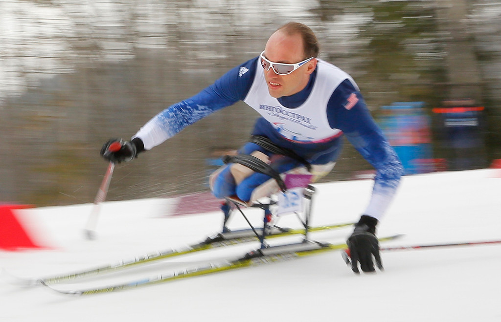. Andrew Soule of United States races during the 15km men\'s cross country ski, sitting event at the 2014 Winter Paralympic, Sunday, March 9, 2014, in Krasnaya Polyana, Russia. (AP Photo/Dmitry Lovetsky)