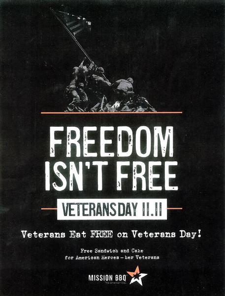 2018_1111 Mission BBQ 20707 -- Veterans Day --  Freedom Isn't Free