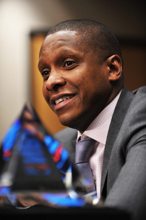 . Denver Nuggets executive vice president of basketball operations Masai Ujiri has been named the 2012-13 NBA executive of the year. Ujiri is in the press conference at Pepsi Center, Denver, Colorado. May 9, 2013.  (Photo By Hyoung Chang/The Denver Post)