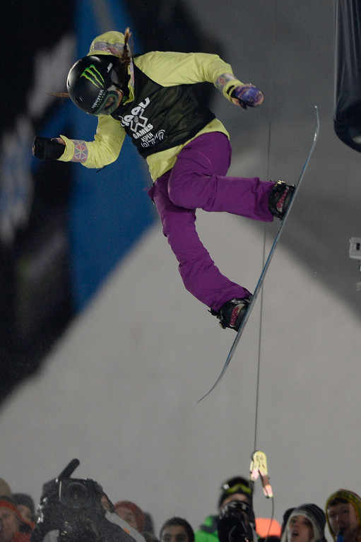 . Gold medalist Chloe Kim rides during the women\'s snowboard half pipe final. Winter X Games on Saturday, January 24, 2015. (Photo by AAron Ontiveroz/The Denver Post)