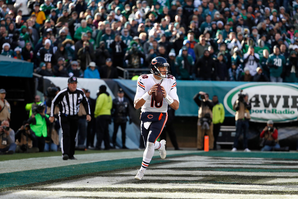 . Chicago Bears\' Mitchell Trubisky looks to pass during the first half of an NFL football game against the Philadelphia Eagles, Sunday, Nov. 26, 2017, in Philadelphia. (AP Photo/Chris Szagola)