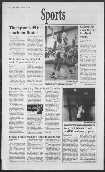 Daily Trojan, Vol. 127, No. 11, January 29, 1996