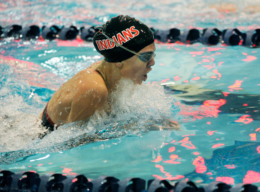. Loveland High School sophomore Brooke Hansen finished second in the 100-Yard Breastroke finals Saturday night. The Colorado Coaches Invitational Swimming and Diving Meet wrapped up Saturday night, December 15, 2012.  Karl Gehring/The Denver Post
