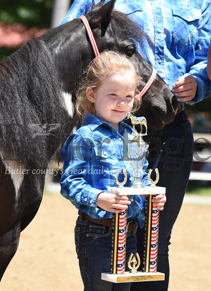 Harold Aughton/Butler Eagle: Emma Sasse, 4, of Chicora, took 1st place with her horse, Bella, in the 3-5 year-old division of the High Point competition. The competition was dedicated to the memory of Colbee Lovich, 4, a former rider, who died in accident in 2014.