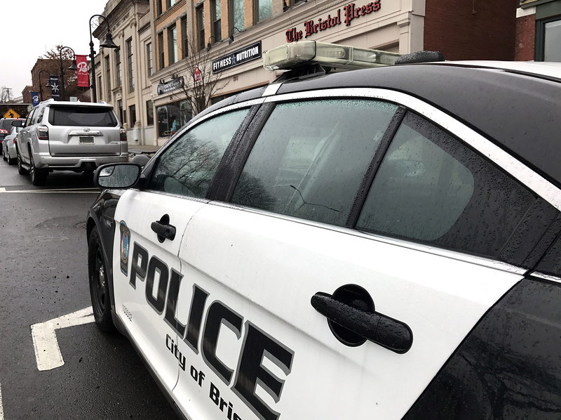 1/18/2017 Mike Orazzi   Staff A Bristol police car parked on Main Street in the city Wednesday morning.