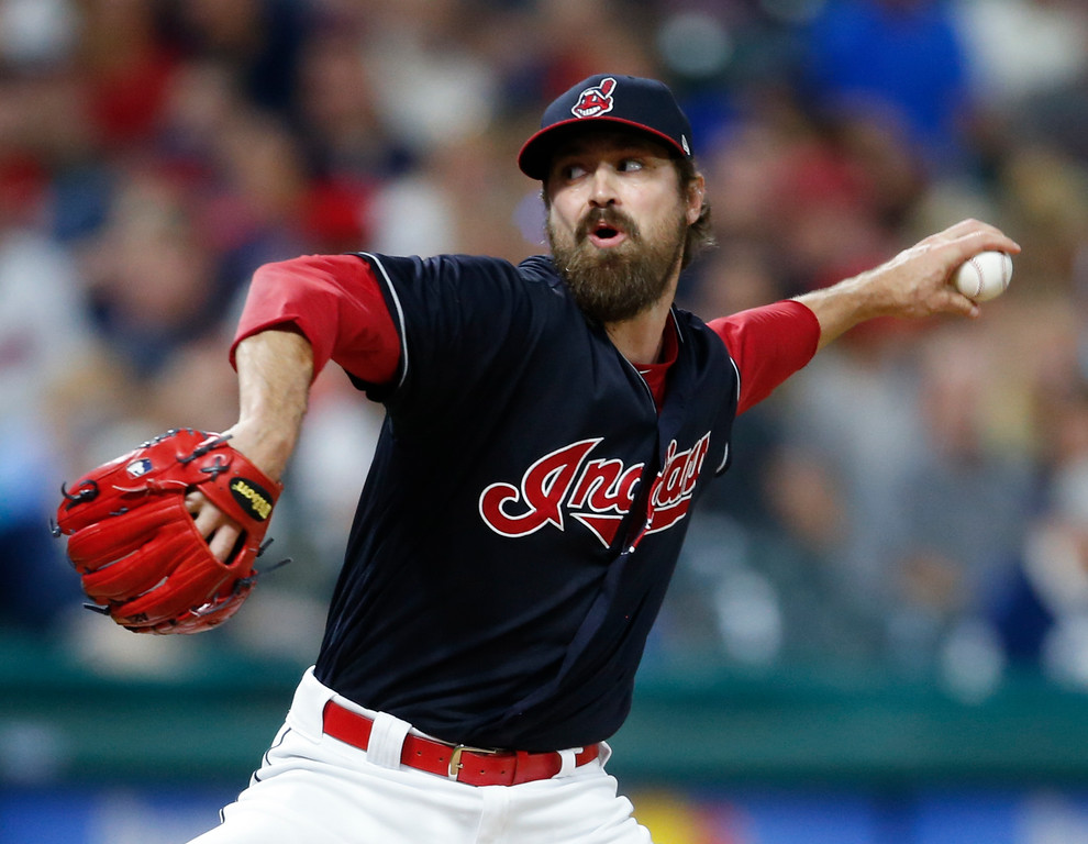 . Cleveland Indians\' Andrew Miller delivers against the Detroit Tigers during the seventh inning of a baseball game, Friday, Sept. 14, 2018, in Cleveland. (AP Photo/Ron Schwane)