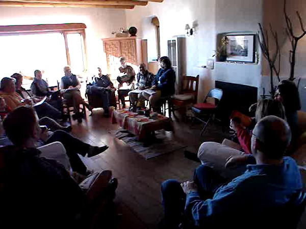 """Ravi Verma introduces the topic, """"theological themes,"""" in our main meeting room at Casa del Sol.  http://stillpointca.org/ghostranch.html http://www.ghostranch.org/courses-and-retreats/stillpoint"""