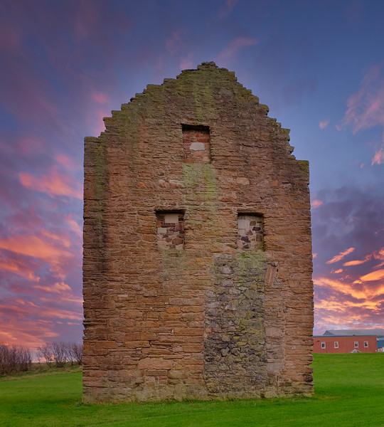 Auchenharvie Colliery Engine House  Front Elevation Remains Stevenston North Ayrshire Scotland at Siunset end of the day with a blazing red sky.