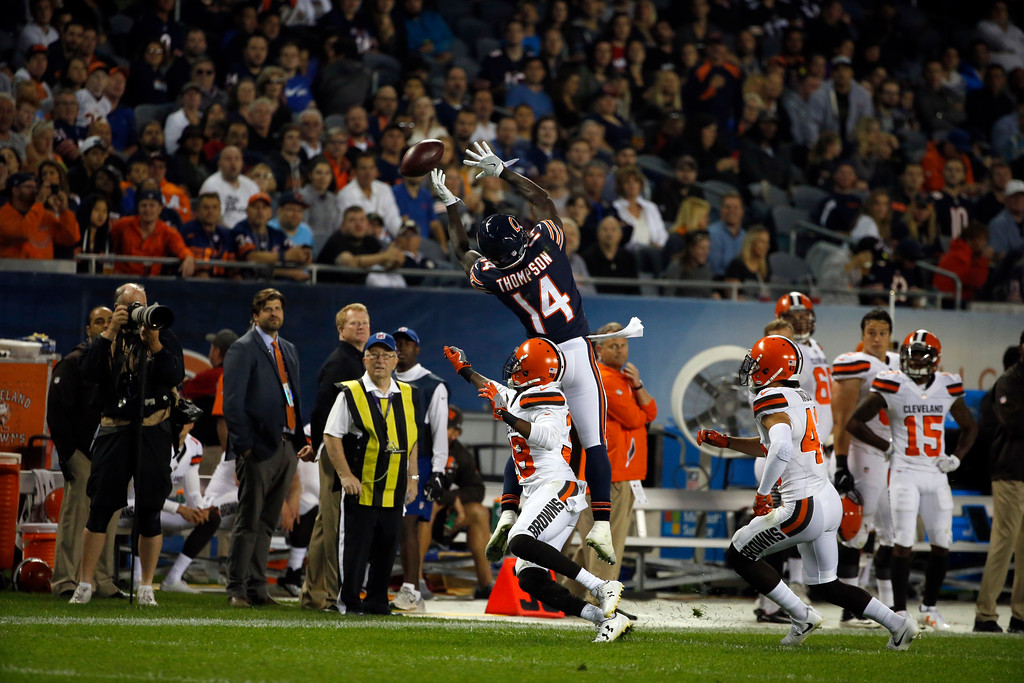 . Chicago Bears wide receiver Deonte Thompson (14) can\'t make the catch against Cleveland Browns cornerback Channing Stribling (38) during the first half of an NFL preseason football game, Thursday, Aug. 31, 2017, in Chicago. (AP Photo/Nam Y. Huh)